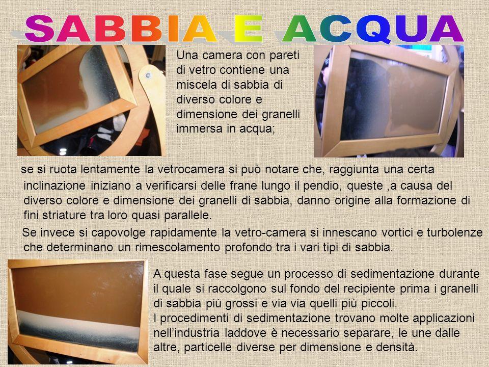 SABBIA E ACQUA Una camera con pareti di vetro contiene una miscela di sabbia di diverso colore e dimensione dei granelli immersa in acqua;