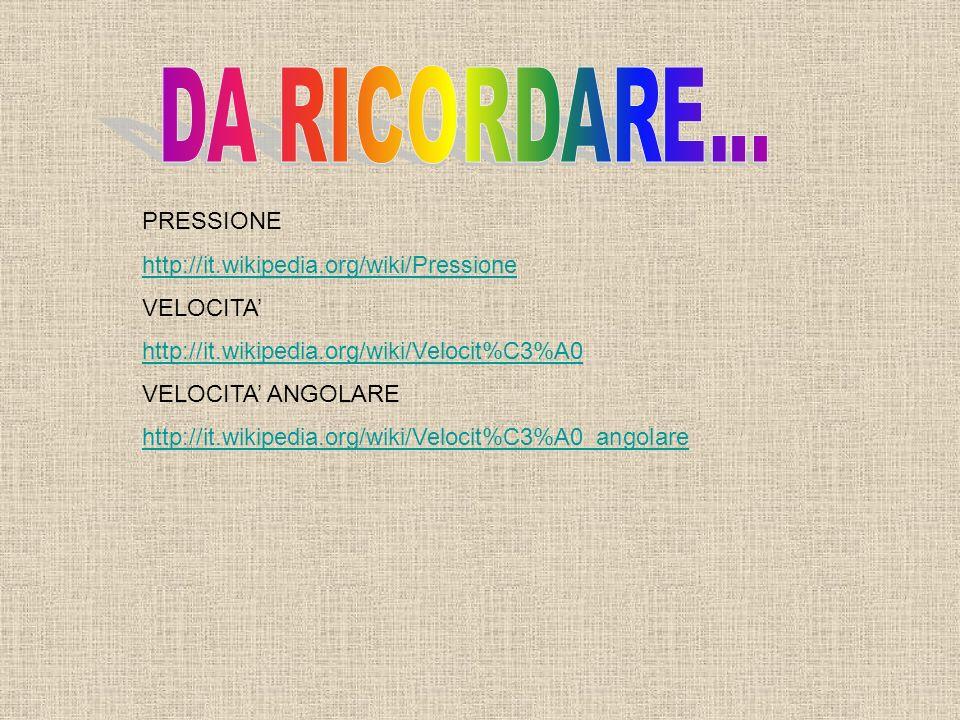 DA RICORDARE... PRESSIONE http://it.wikipedia.org/wiki/Pressione