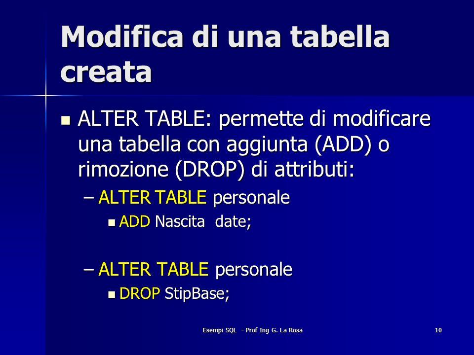 Modifica di una tabella creata