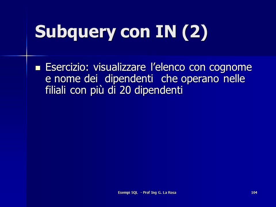 Esempi SQL - Prof Ing G. La Rosa