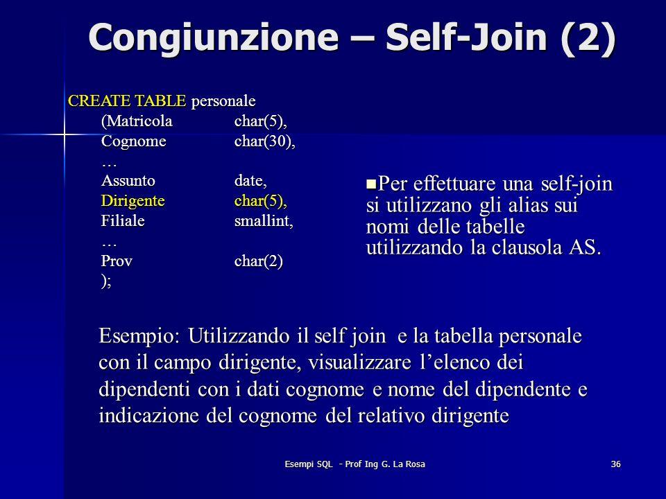 Congiunzione – Self-Join (2)