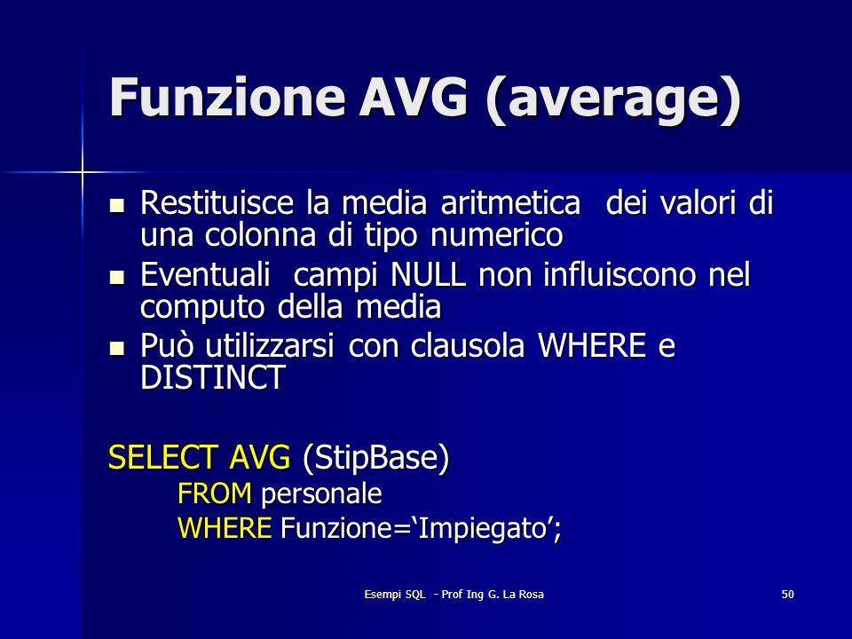 Funzione AVG (average)
