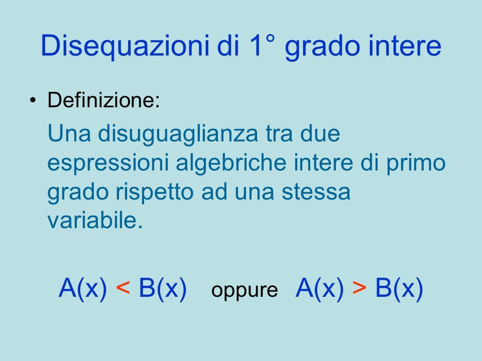 Disequazioni di 1° grado intere