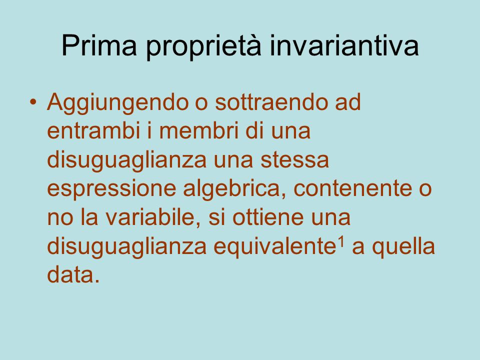 Prima proprietà invariantiva