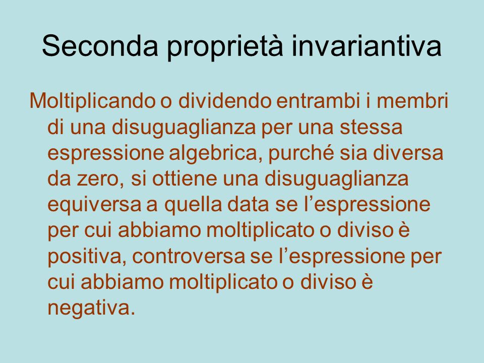 Seconda proprietà invariantiva