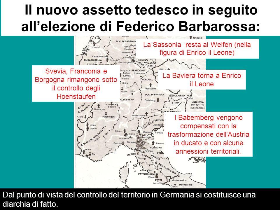 Il nuovo assetto tedesco in seguito all'elezione di Federico Barbarossa: