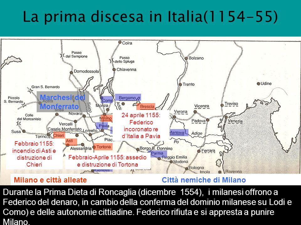 La prima discesa in Italia(1154-55)