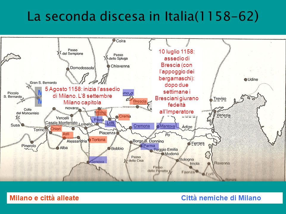 La seconda discesa in Italia(1158-62)