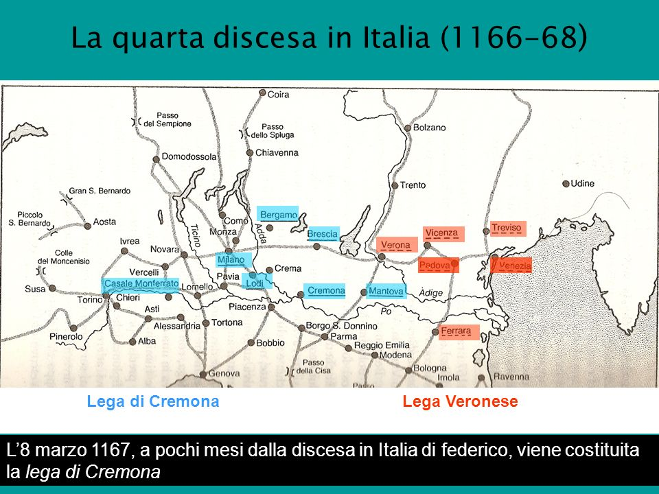 La quarta discesa in Italia (1166-68)