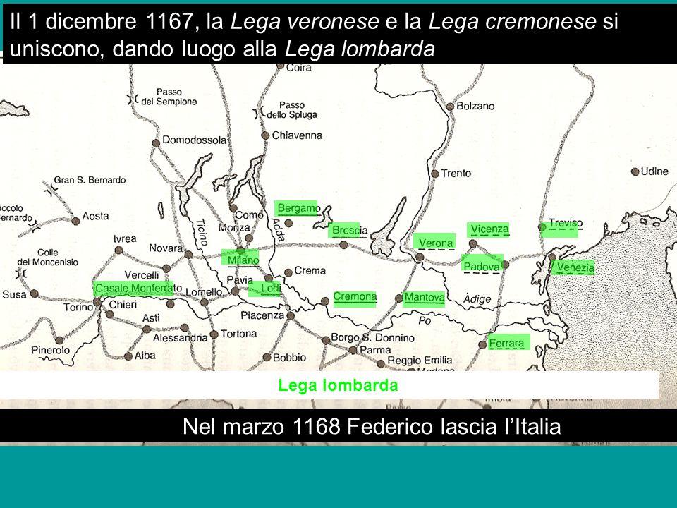 Nel marzo 1168 Federico lascia l'Italia