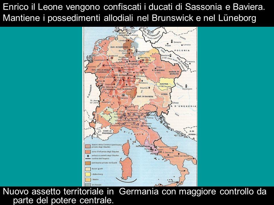 Enrico il Leone vengono confiscati i ducati di Sassonia e Baviera