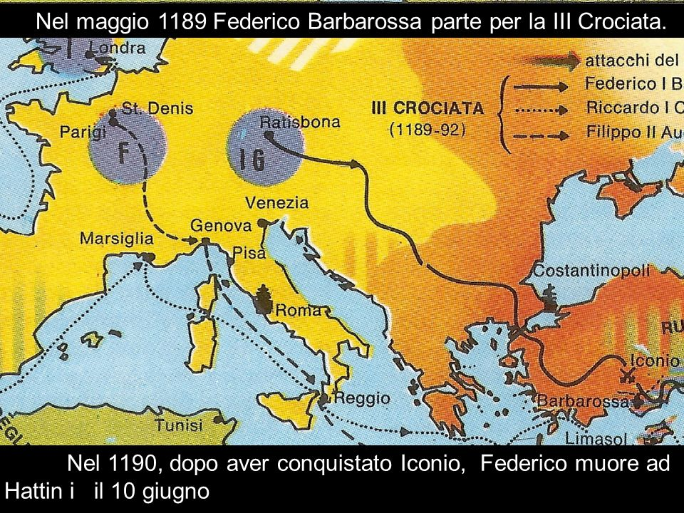 Nel maggio 1189 Federico Barbarossa parte per la III Crociata.