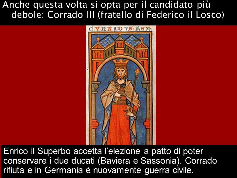 Anche questa volta si opta per il candidato più debole: Corrado III (fratello di Federico il Losco)