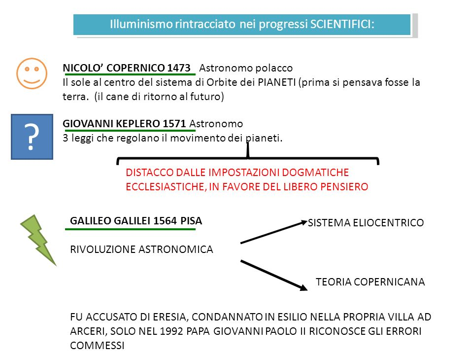 Illuminismo rintracciato nei progressi SCIENTIFICI: