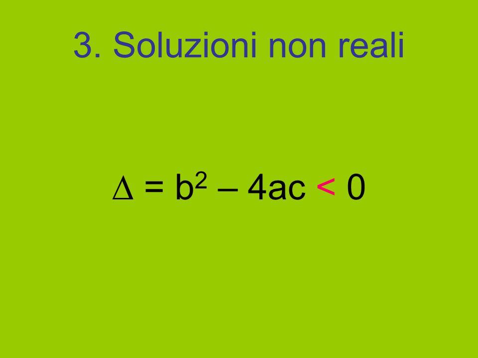 3. Soluzioni non reali  = b2 – 4ac < 0
