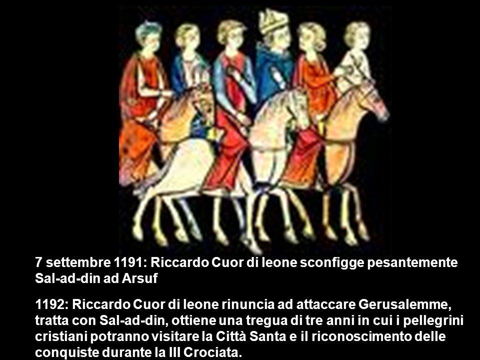 7 settembre 1191: Riccardo Cuor di leone sconfigge pesantemente Sal-ad-din ad Arsuf