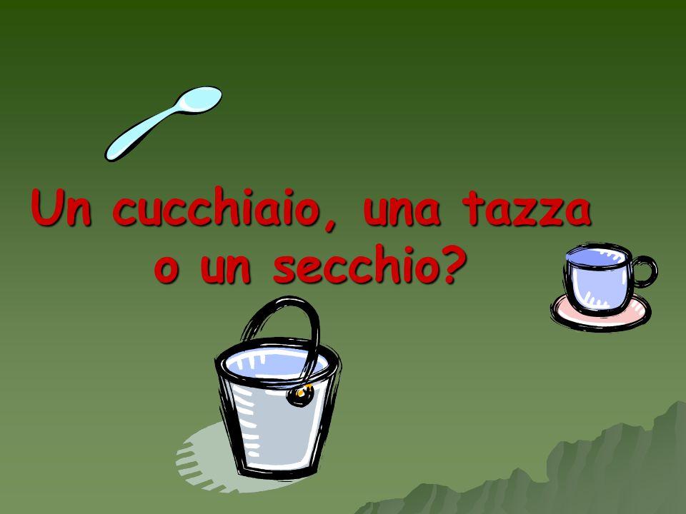 Un cucchiaio, una tazza o un secchio