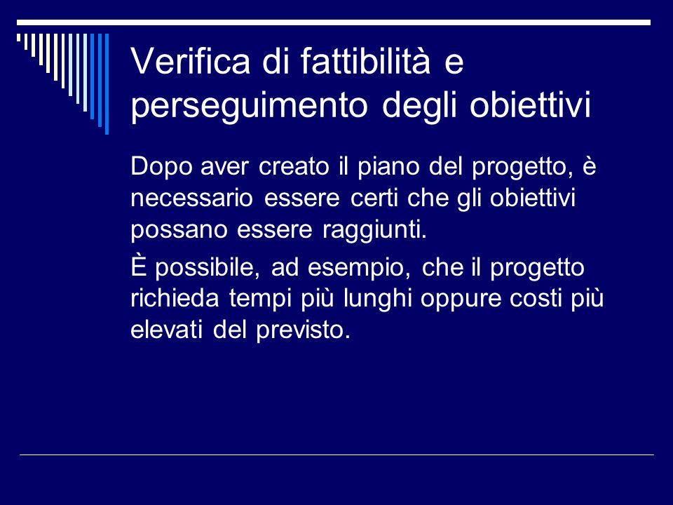 Verifica di fattibilità e perseguimento degli obiettivi