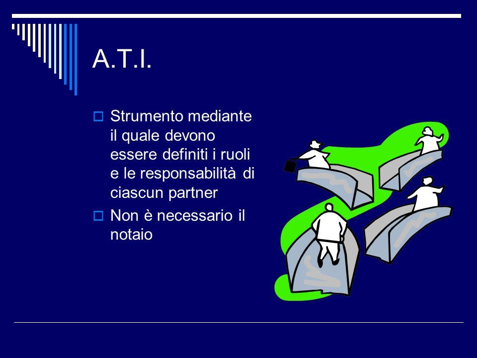A.T.I. Strumento mediante il quale devono essere definiti i ruoli e le responsabilità di ciascun partner.