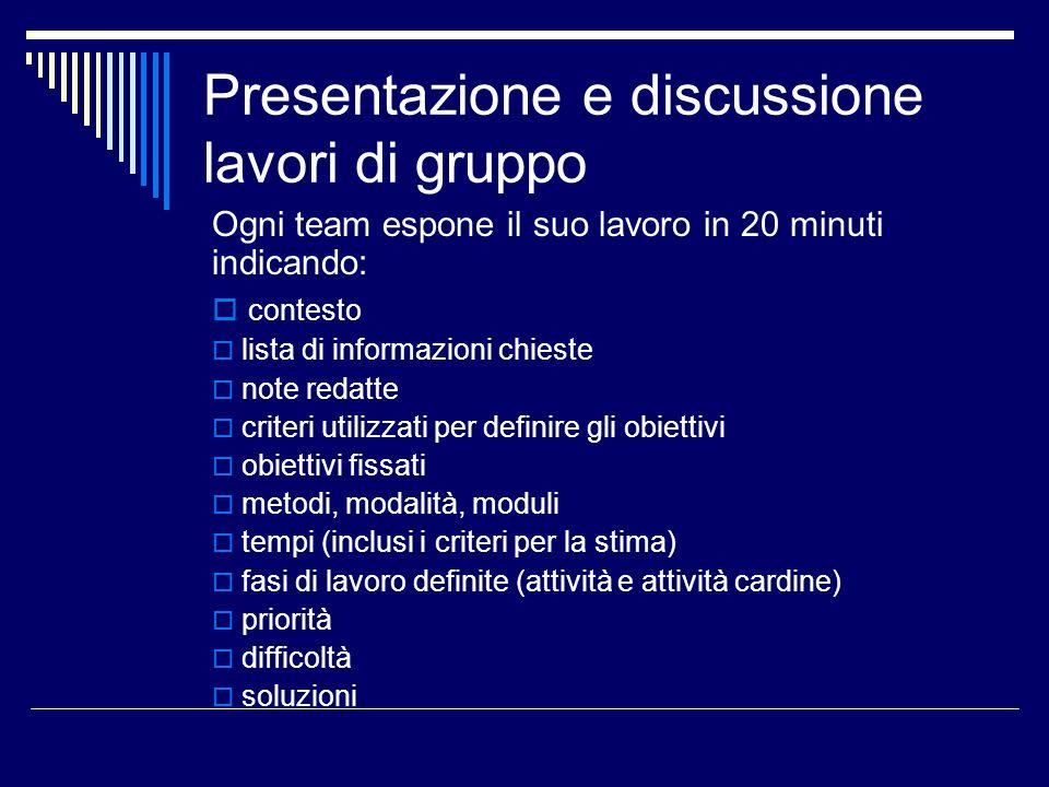 Presentazione e discussione lavori di gruppo