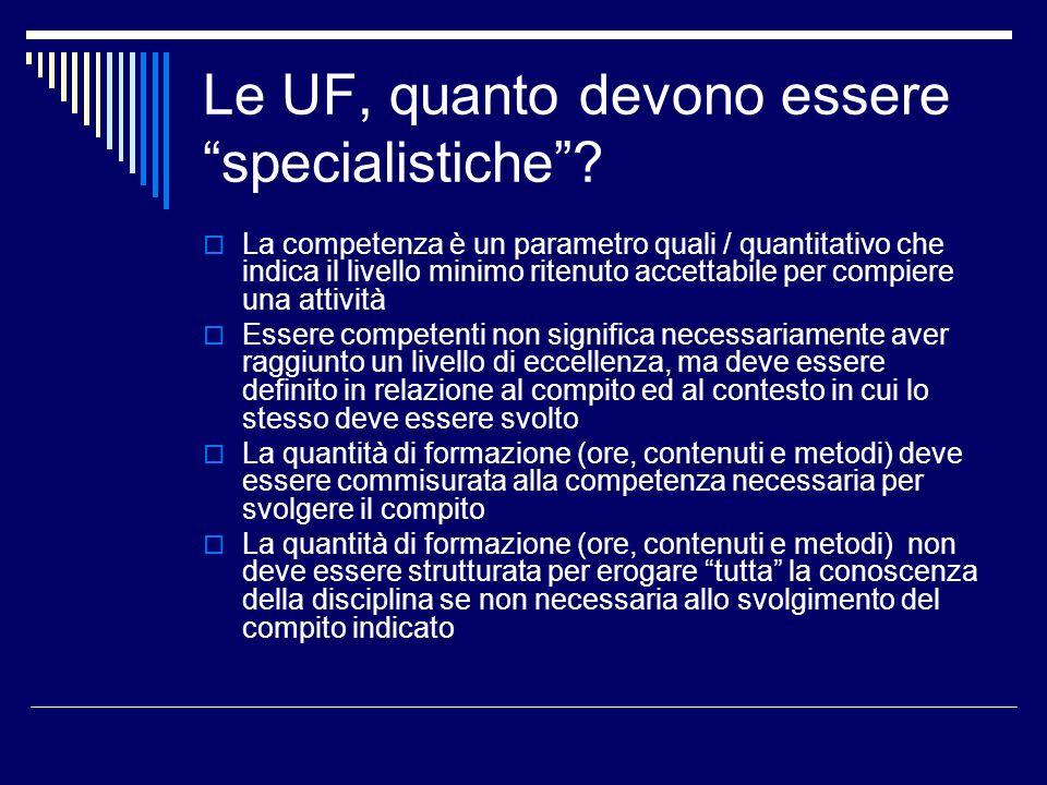 Le UF, quanto devono essere specialistiche