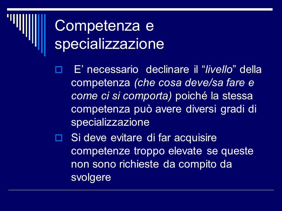 Competenza e specializzazione