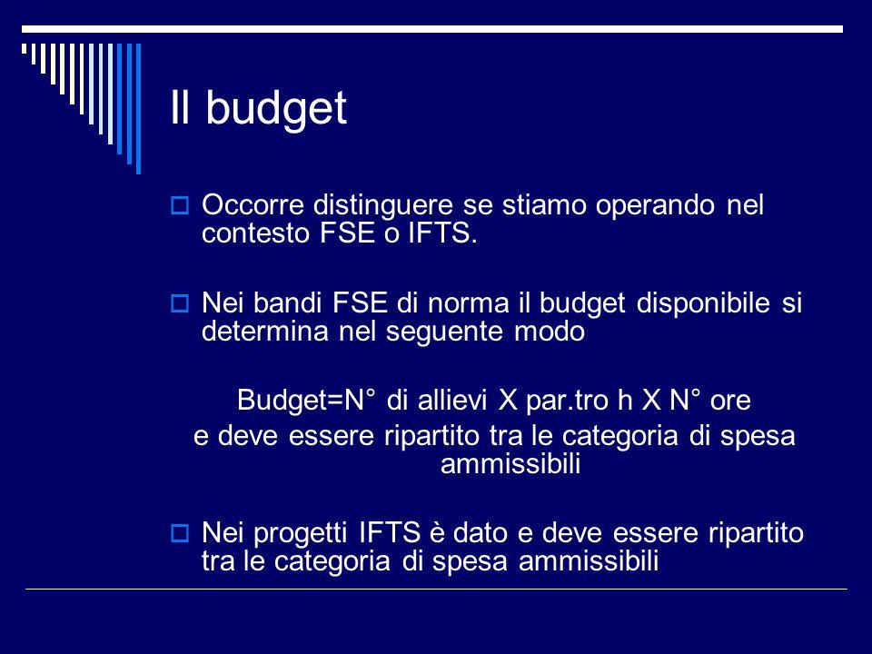Il budget Occorre distinguere se stiamo operando nel contesto FSE o IFTS.