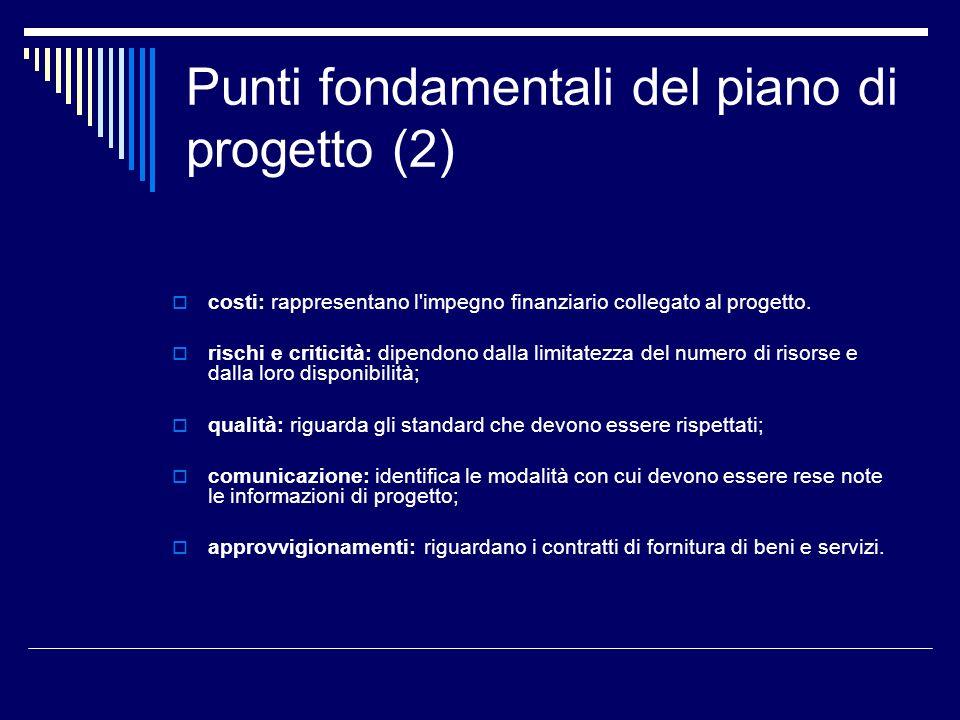Punti fondamentali del piano di progetto (2)