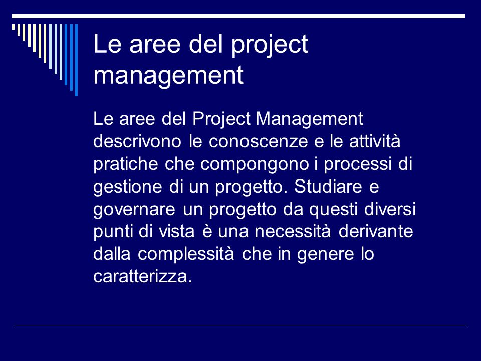Le aree del project management