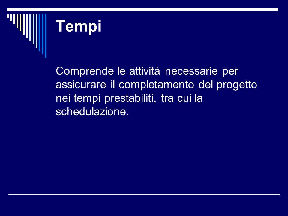 TempiComprende le attività necessarie per assicurare il completamento del progetto nei tempi prestabiliti, tra cui la schedulazione.
