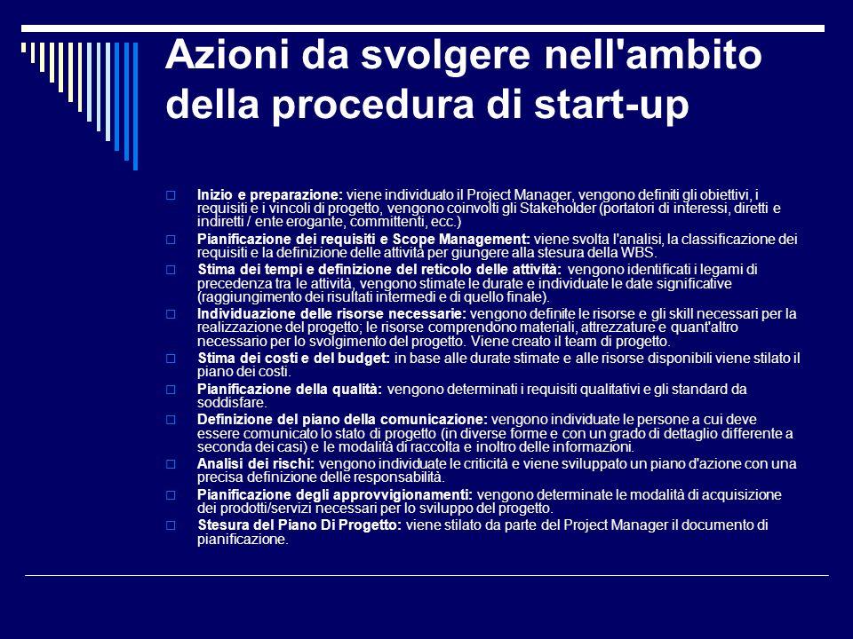 Azioni da svolgere nell ambito della procedura di start-up
