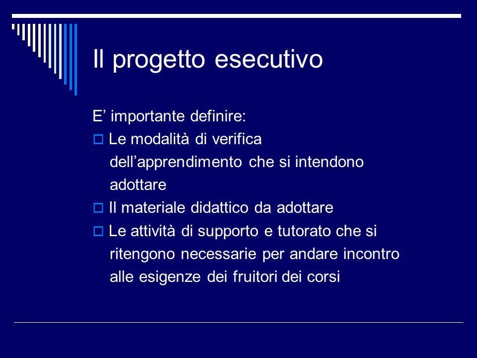 Il progetto esecutivo E' importante definire: Le modalità di verifica