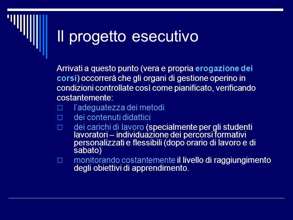 Il progetto esecutivo Arrivati a questo punto (vera e propria erogazione dei. corsi) occorrerà che gli organi di gestione operino in.