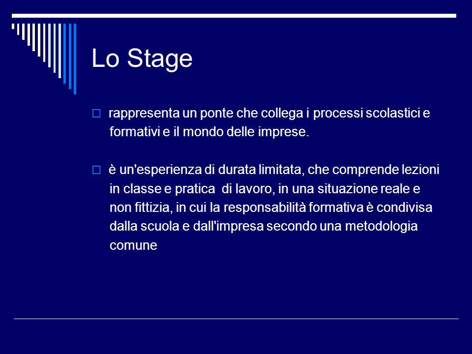 Lo Stage rappresenta un ponte che collega i processi scolastici e