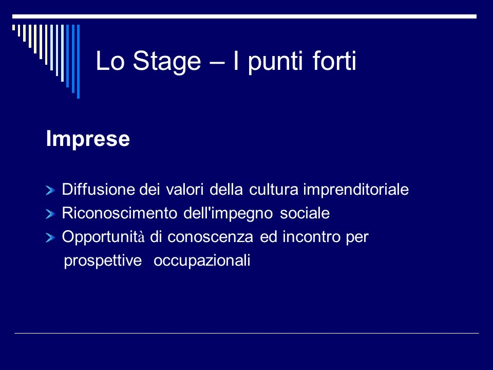 Lo Stage – I punti forti Imprese