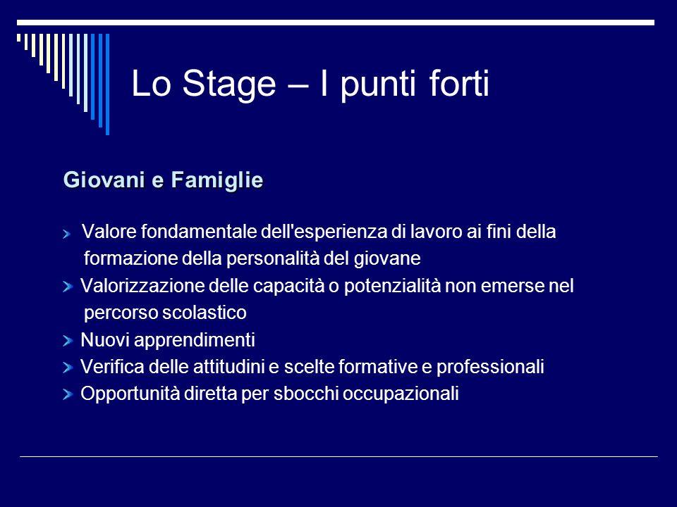 Lo Stage – I punti forti Giovani e Famiglie