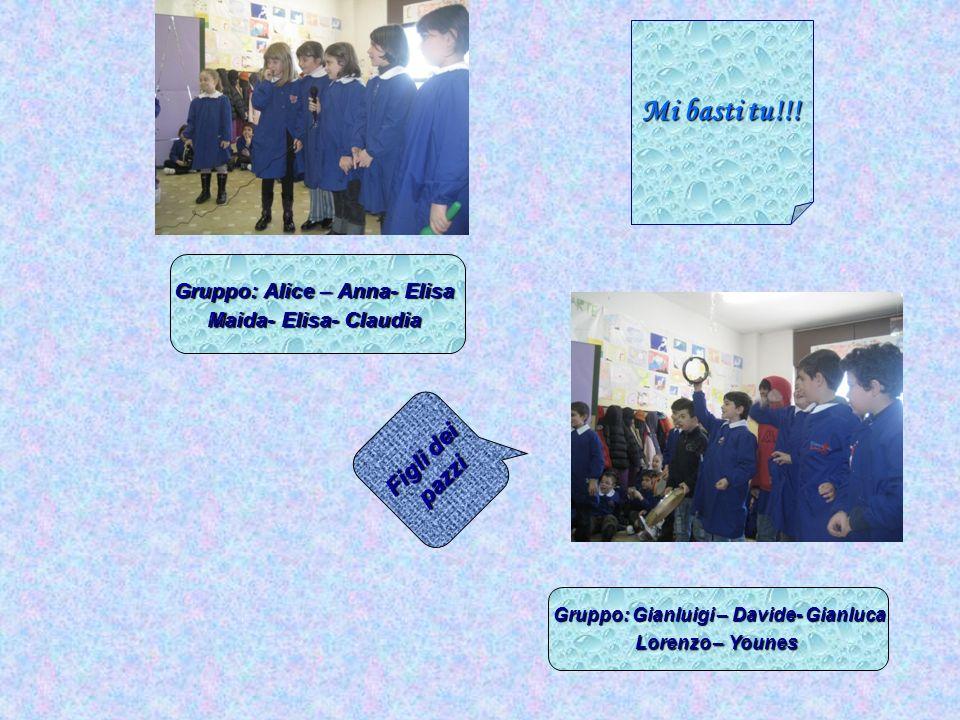 Gruppo: Alice – Anna- Elisa Gruppo: Gianluigi – Davide- Gianluca