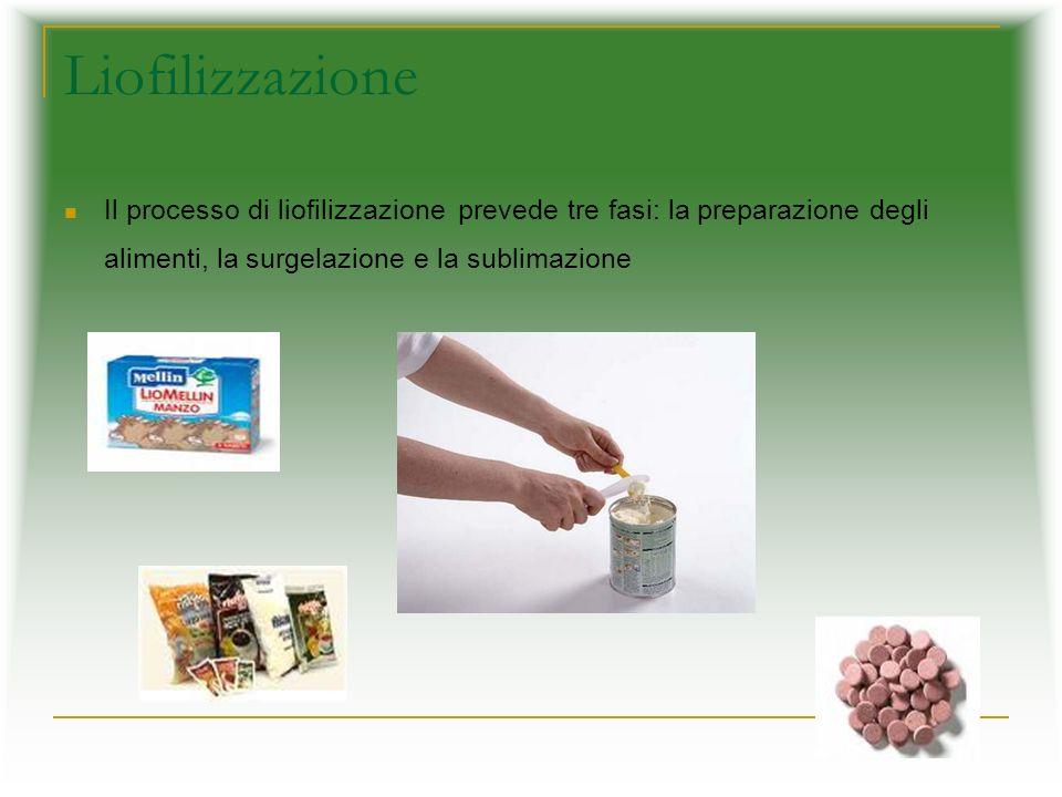 Liofilizzazione Il processo di liofilizzazione prevede tre fasi: la preparazione degli alimenti, la surgelazione e la sublimazione.
