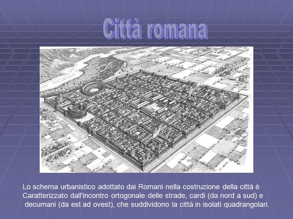 Città romanaLo schema urbanistico adottato dai Romani nella costruzione della città è.