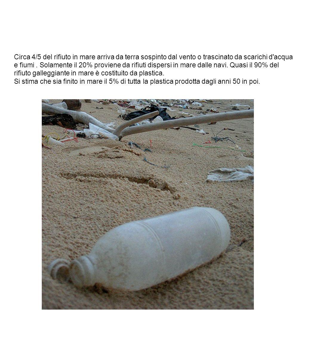 Circa 4/5 del rifiuto in mare arriva da terra sospinto dal vento o trascinato da scarichi d acqua e fiumi . Solamente il 20% proviene da rifiuti dispersi in mare dalle navi. Quasi il 90% del rifiuto galleggiante in mare è costituito da plastica.
