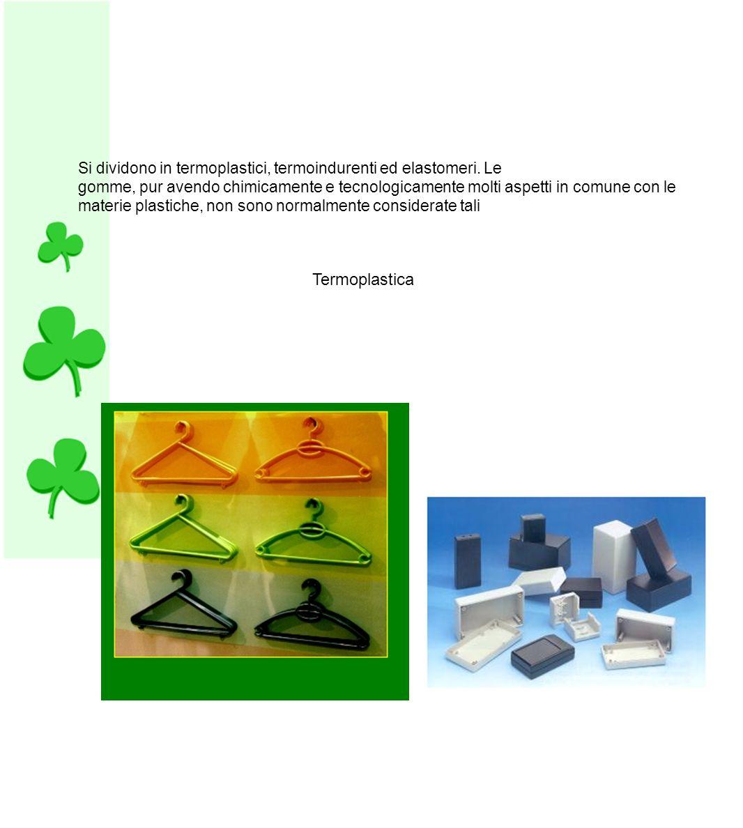 Si dividono in termoplastici, termoindurenti ed elastomeri. Le