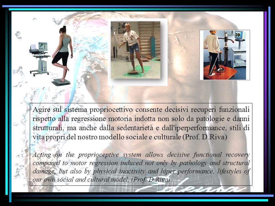 Agire sul sistema propriocettivo consente decisivi recuperi funzionali rispetto alla regressione motoria indotta non solo da patologie e danni strutturali, ma anche dalla sedentarietà e dall iperperformance, stili di vita propri del nostro modello sociale e culturale (Prof. D.Riva)