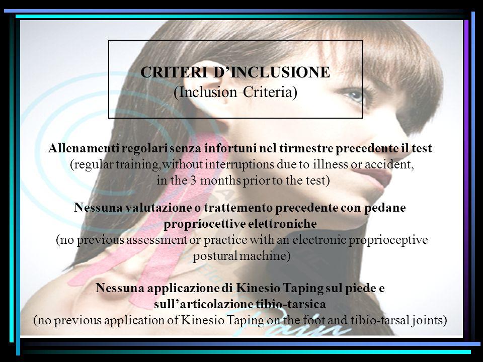 CRITERI D'INCLUSIONE (Inclusion Criteria)