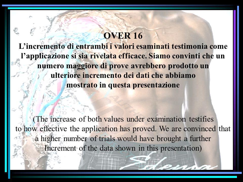 OVER 16 L'incremento di entrambi i valori esaminati testimonia come