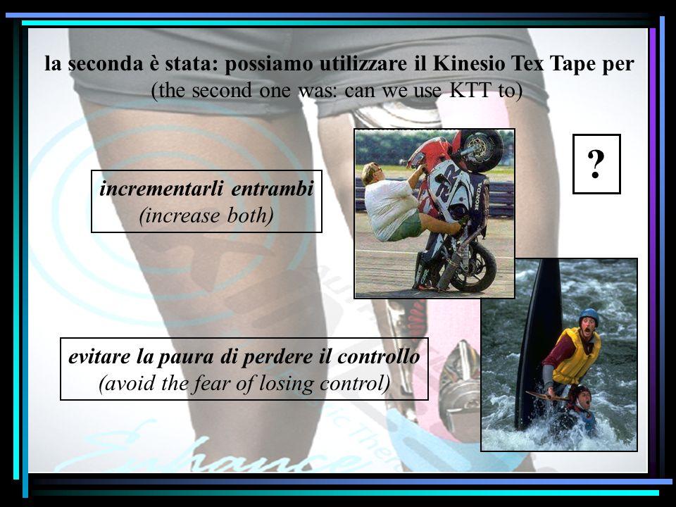 la seconda è stata: possiamo utilizzare il Kinesio Tex Tape per