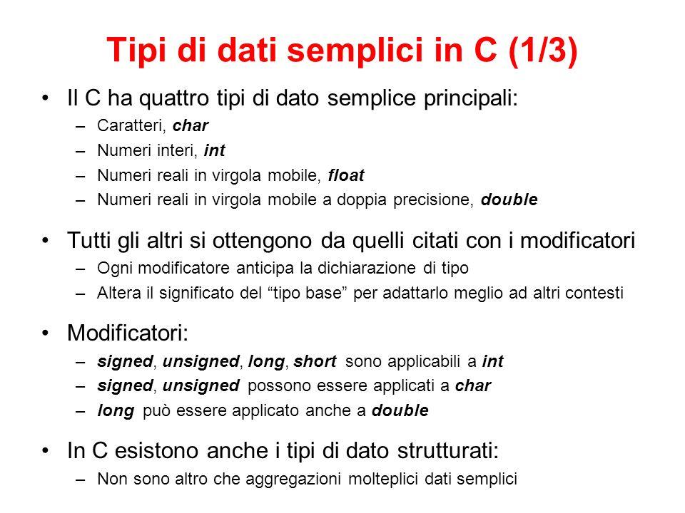 Tipi di dati semplici in C (1/3)