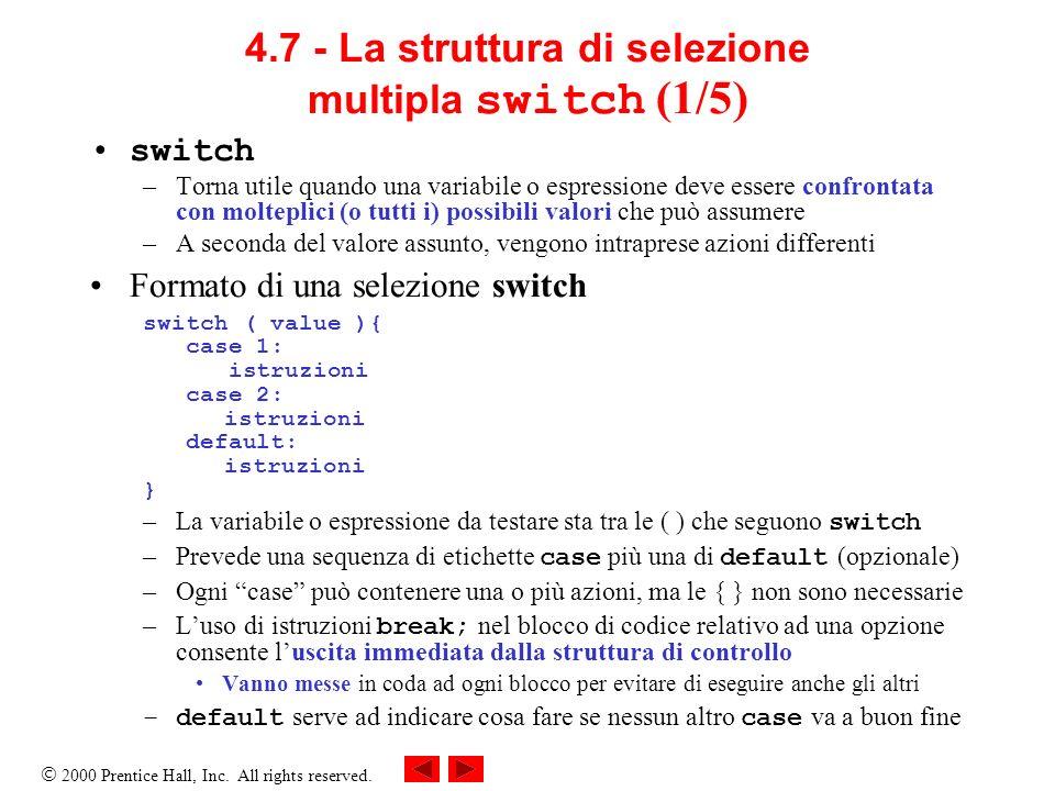 4.7 - La struttura di selezione multipla switch (1/5)