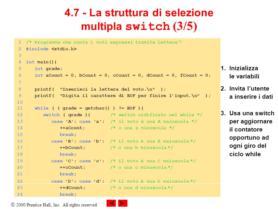 4.7 - La struttura di selezione multipla switch (3/5)