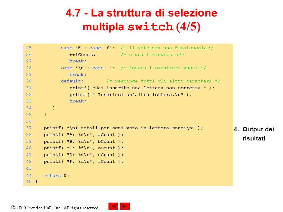 4.7 - La struttura di selezione multipla switch (4/5)
