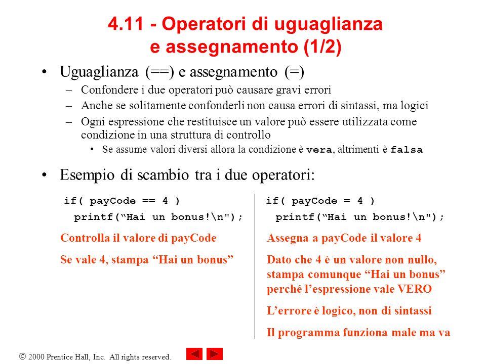 4.11 - Operatori di uguaglianza e assegnamento (1/2)